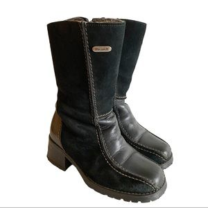 PAJAR Black Shearling Lining Leather Heel Boots